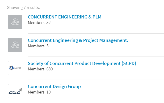 LinkedIn concurrent engineering forums list